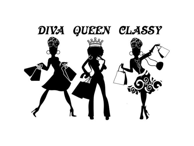 Black Woman Silhouettes African American Lady Nubian Queen Diva Afro