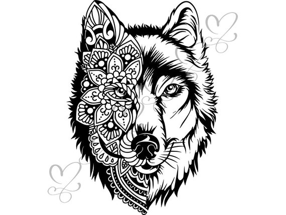 Loup Illustration Croquis Tatouage Tribal Tête D Animal Art Design Fourrure Sauvage Svg Eps Png Vector Clipart Digital Download Circuit Coupe Coupe