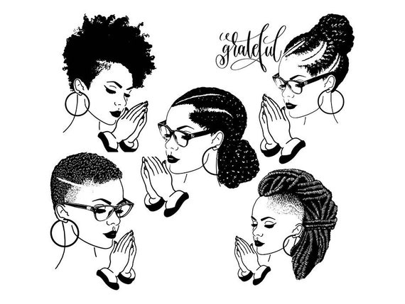 bundle of 5 woman svg afro queen diva african american lady