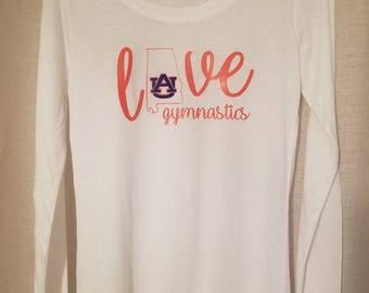 Love Auburn Gymnastics - Available as Long Sleeve, Short Sleeve, or Tank