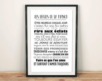 Poster, modern Printable maison•Affiche rules