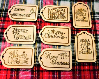 Laser Engraved Merry Christmas Wood Gift Tags - Set Of 8 | Christmas Present Tags