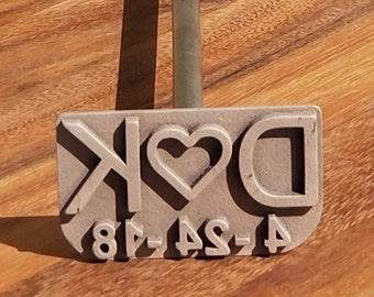 aca6f0ddfdd Custom Initials and Date Wedding Branding Iron