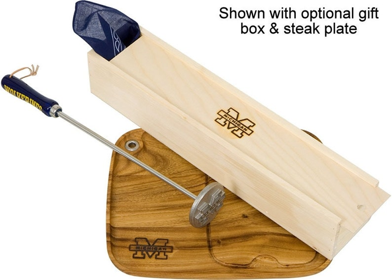 Grilling Gift For Guys and Dad Wood /& Leather Rare Steak Branding Iron For Steak Stainless Steel Steak Brand OnlyGifts.com Buns