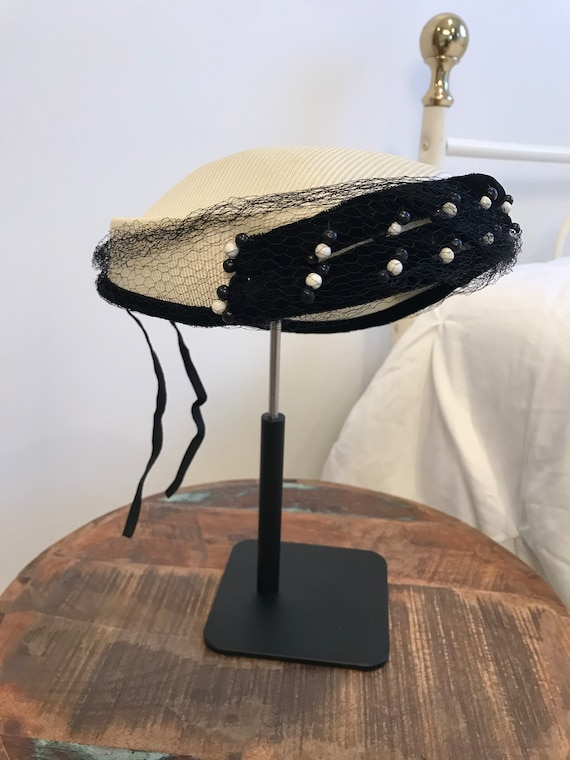 Black and White 1950's Vintage Ladies Hat | Vintag