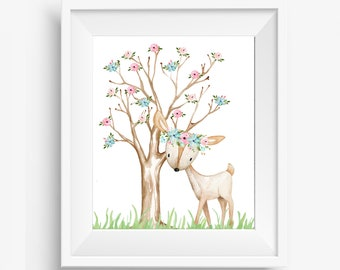 Woodland Nursery, Woodland Nursery Decor, Woodland Animals, Woodland Nursery Prints, Girl Woodland Nursery, Boho Nursery, Deer Nursery Decor