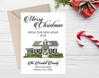 new home christmas card house portrait christmas card christmas change of address card new address card holiday moving announcement