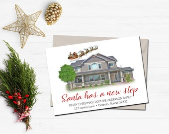 new home christmas card house portrait christmas card christmas change of address card santa has a new stop holiday moving announcement