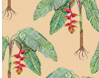 Natural Tropical Plant Pre-pasted Wallpaper