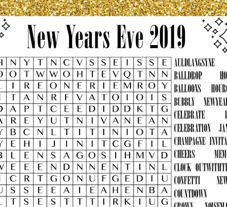 image about New Years Word Search Printable called Printable Fresh Several years Eve Wordsearches - NYE 2019 Tough Medium Very simple Phrase Look Locate Bash Fresh Many years Eve Online games Social gathering Video games