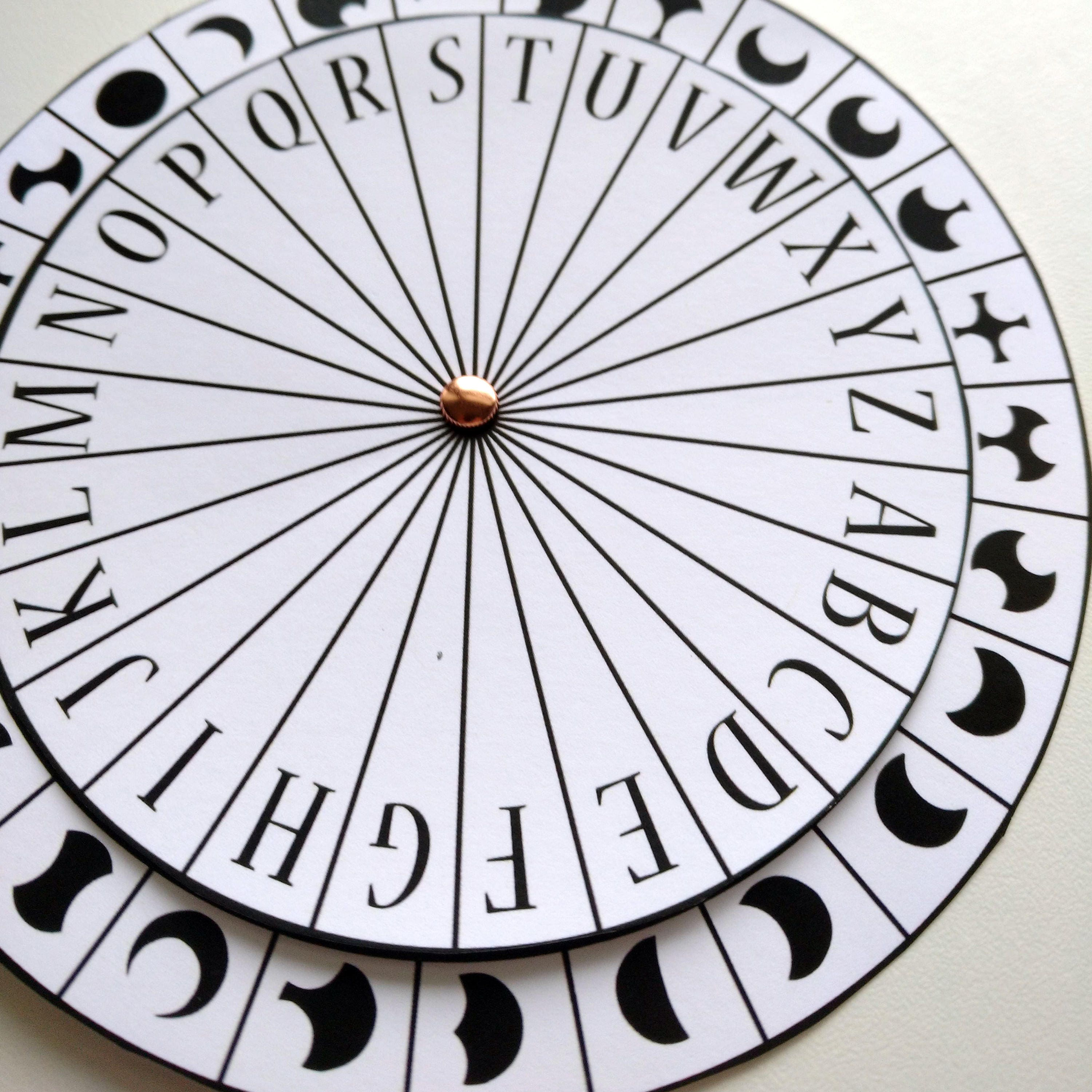 It is a graphic of Punchy Printable Cipher Wheel