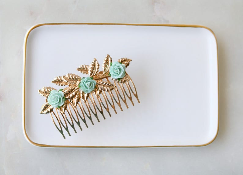 Gold Hair Comb With Green Flowers  Wedding Headpiece Bridal Hair Comb Hair Accessories Shabby Chic Bohemian Boho Mint Green