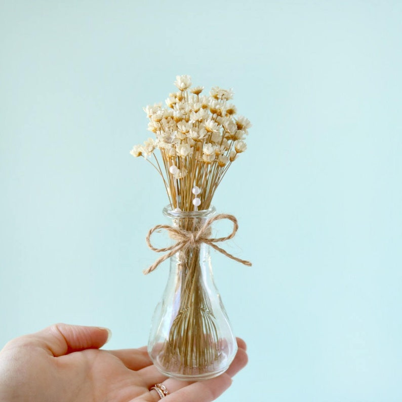 Natural Dried Flowers In Mini Bud Vase  Mothers Day Gift Dried Flowers Arrangement Small Gift Rustic Home Decor Gift Birthday Gift