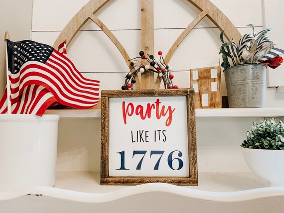 Party Like It/'s 1776 Sign Personalized American Flag Family Metal Wall Decor