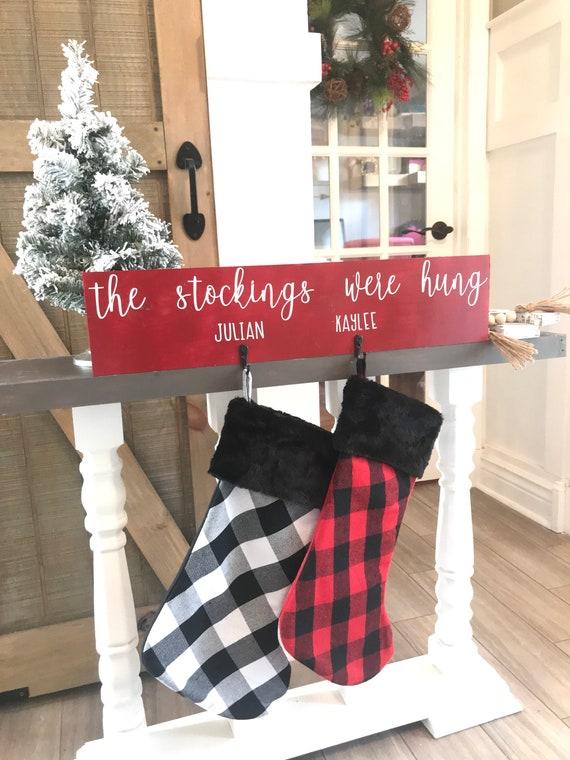 Christmas Stocking Holder.Christmas Stocking Holder Stockings Were Hung Stocking Hanger Stocking Display Christmas Mantle Reindeer Stocking Rustic Xmas