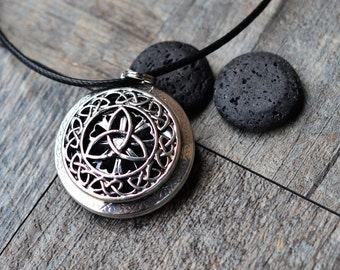 Lava Stones Essential Oil Diffuser Necklace/Grand Celtic Knot/Aromatherapy/With 2ML Essential Oil