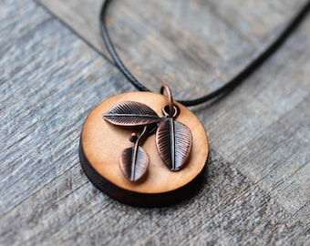 Laser Cut Wood Essential Oil Diffuser Necklace/ Antique Copper Leaf/Aromatherapy/With 2ML Essential Oil