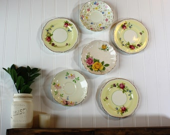 Wall Hanging Plates, Set of 6, Saucers for Hanging, Decorative Plates, Kitchen Wall Art, Cottage Wall Art, Vintage Plates, Floral Saucers