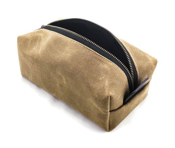 Men s Toiletry Bag Waxed Canvas Dopp Kit   Etsy 2fafb2f64e