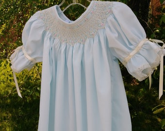 Beautiful in Blue! Hand smocked Bishop Dress, size 9 month