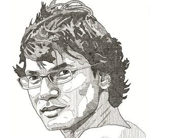 Xulhaz Manna original ink drawing on acid-free paper