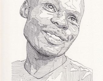 David Kato original ink drawing on acid-free paper