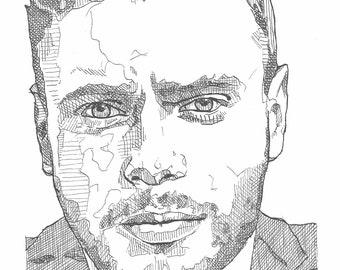Gus Kenworthy original ink drawing on acid-free paper