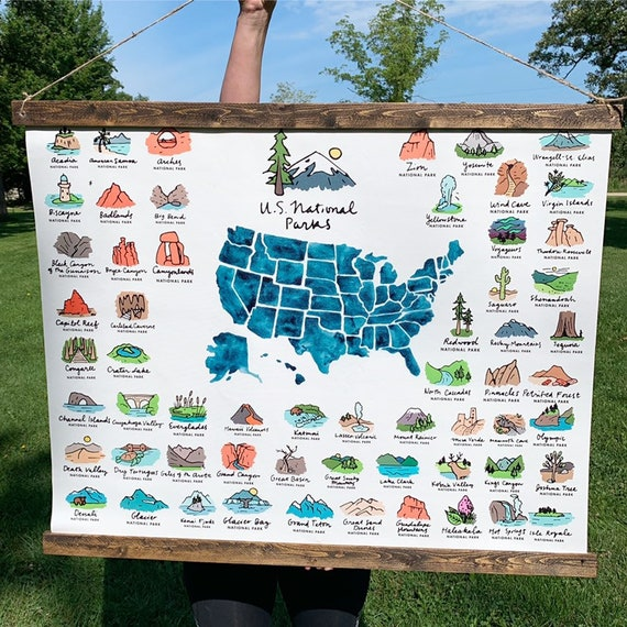Hanging canvas print, US map, US national State Parks, State Parks, Map of  the US, National Park map, National Park Print