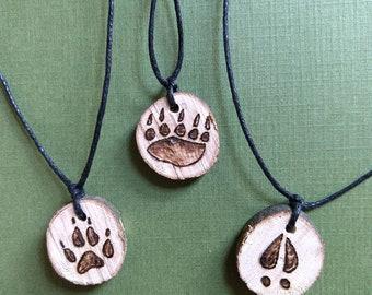 Animal Track Wood Burned Necklaces