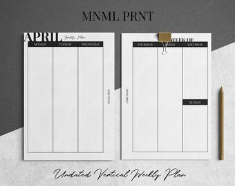 MNML PRNT WO2P Planner Insert | A5 Size | Weekly Vertical Planner Inserts | Undated | Printable | Instant Download