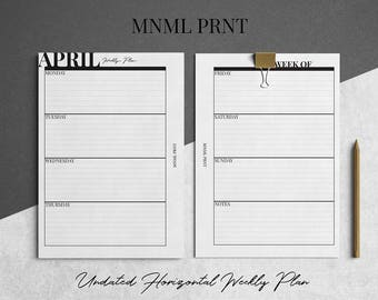 MNML PRNT WO2P Planner Insert | A5 Size | Weekly Horizontal Planner Inserts | Undated | Printable | Instant Download