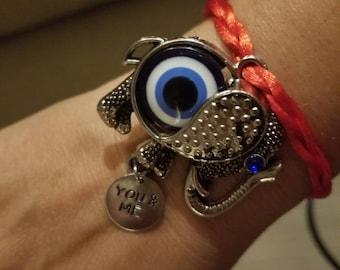 Bracelet  woven red, Elephant eye turkish,.protection, good locky