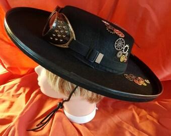 New one off black zorro steampunk flat rimmed flat top hat (341) 8baddafbfc3