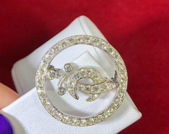 Vintage-Pin-Brooch-Silver-Rhinestones-Sword-Jewelry-Accessories-ORA-Crescent-Moon