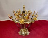 Vintage-18-Cocktail Picks-Toledo-Spain-Swords-Gold-Serving Ware-Dishware-Home Decor