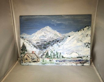 Vintage-Painting-Picture-Original-Oil-Cabin-Snow-Signed-ECK-Home Decor-Wall Hanging-Wall Decor
