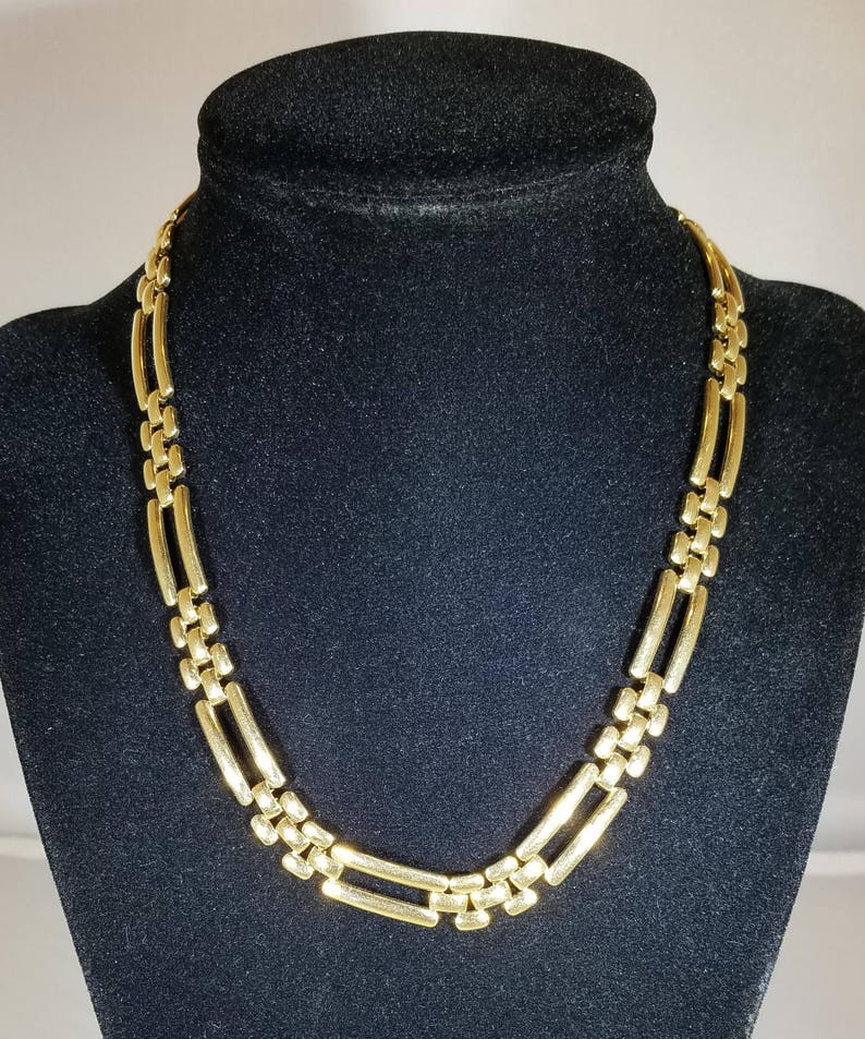 Vintage Monet Gold Necklace Chain Squares Jewelry Accessories Etsy