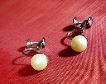 Vintage-Earrings-Pearl-Silver-Clip On-Screw-Jewelry-Accessories