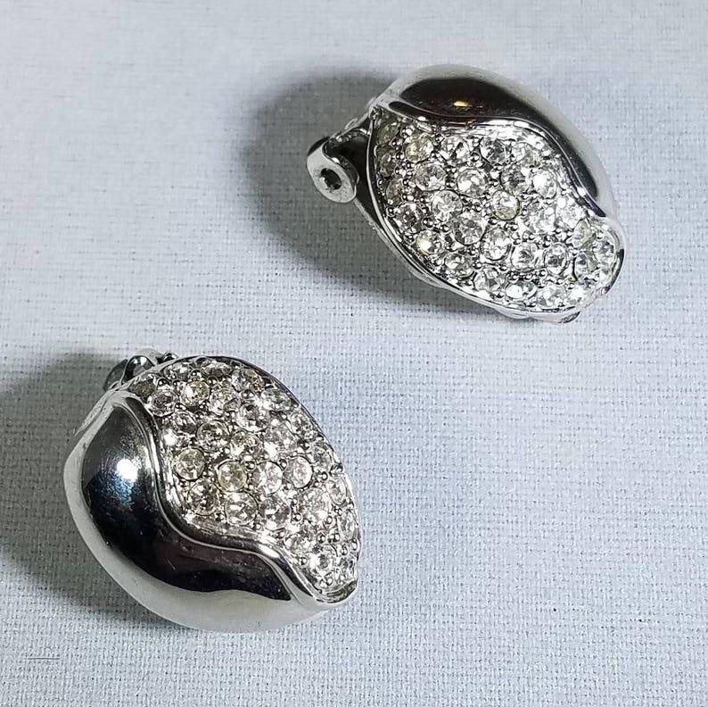 Vintage-Silver-Rhinestones-Earrings-Clip On/'s-Jewelry-Accessories