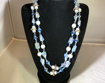 Vintage-Necklace-Blue-Beaded-Rocks-Jewelry-Accessories