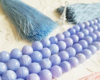 Blue lace agate beads, Agate beads, Semi precious beads, 8mm beads, Zodiac stone, Blue beads, Round beads, Diy supplies, Full strand