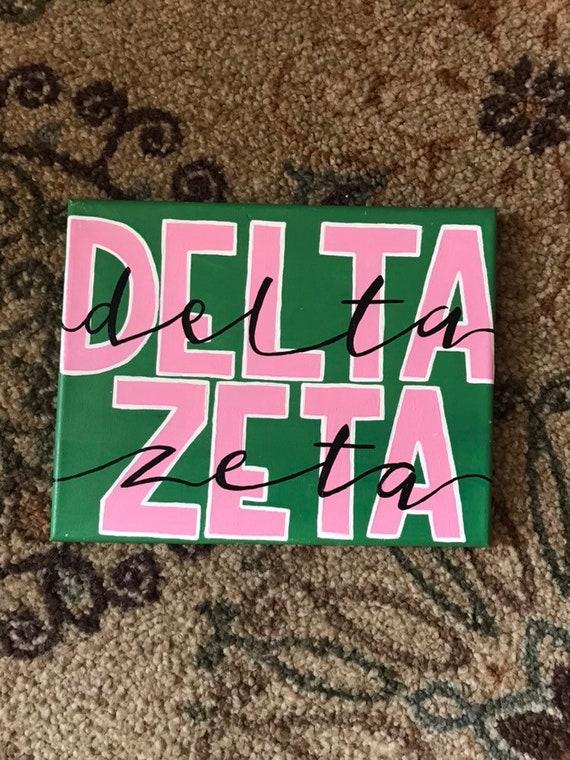 Custom Greek Double Word Sorority Name Canvas: Delta Zeta