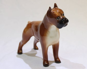 Vintage Beautiful Boxer Dog Figurine, Brown and White Boxer