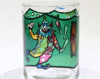 Vintage Circus Clowns Glass Tumbler, Drinking Glass, Barware