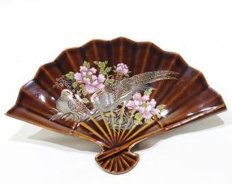 Vintage Ceramic Decorative Fan Trinket Dish, Made in Japan, Birds and Floral Design