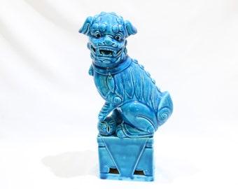 Vintage Turquoise Blue Foo Dog Figurine, Chinoiserie Ceramic Foo Dog