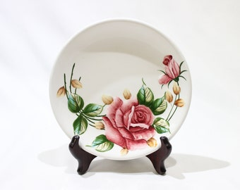 """Vintage 1950's Lefton Americana Rose Set of 8 Bread and Butter Plates 6 3/4"""" #963"""