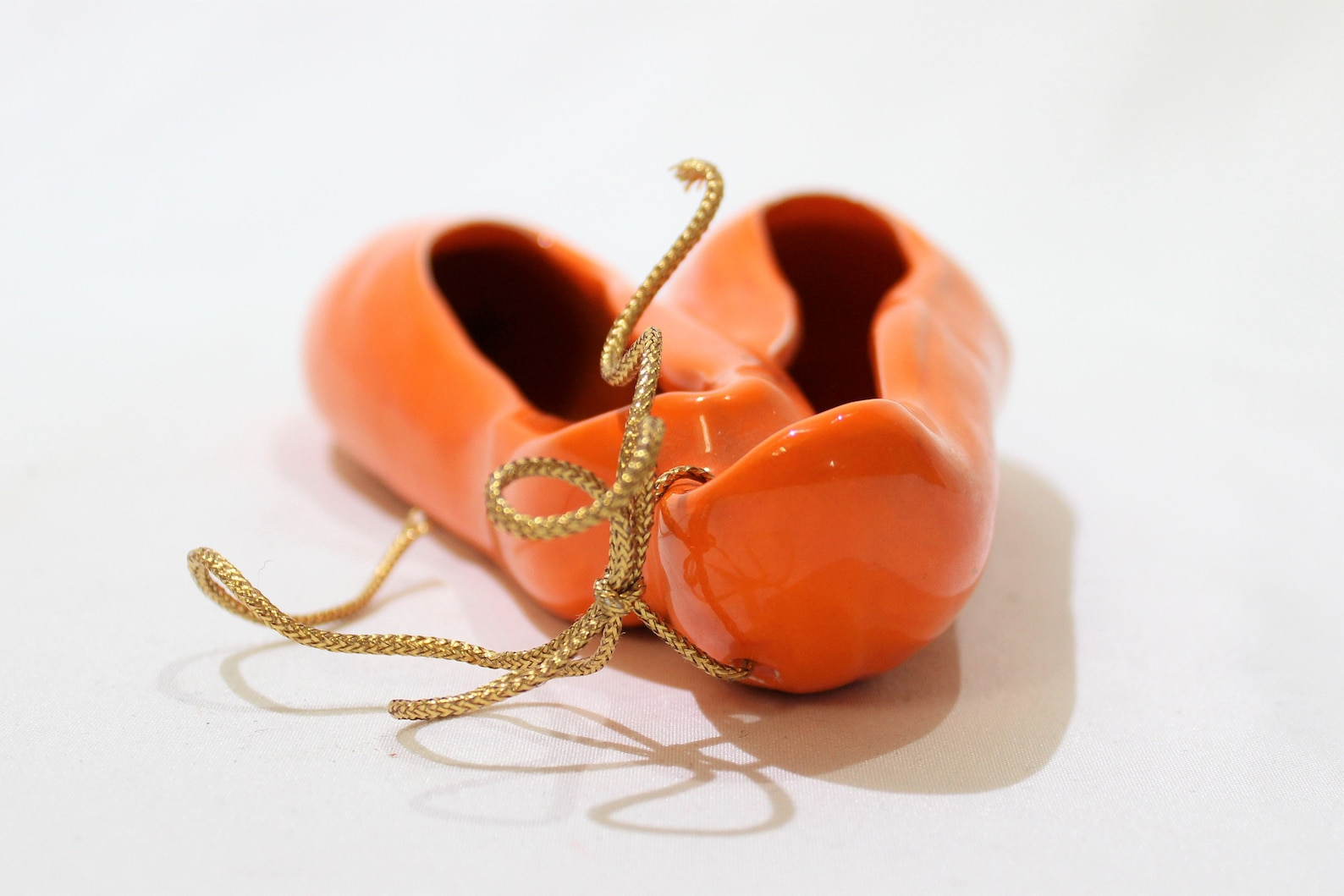 vintage orange ceramic ballet slippers, ballet shoes, wall hanging, ballerina gift