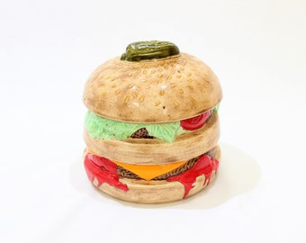 "Vintage 6"" Hamburger Cheeseburger Novelty Ceramic Cookie Jar, Signed and Dated 1981"