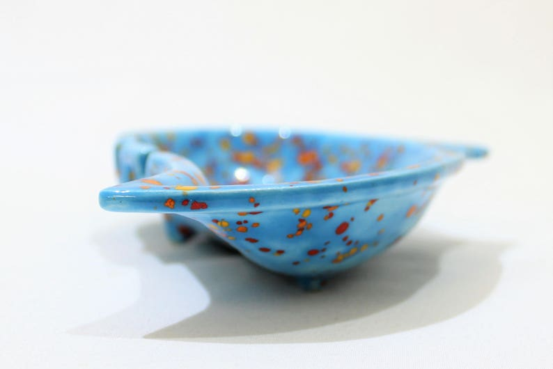 Vintage Light Blue Speckled Red and Yellow Ashtray Home Decor Trinket Dish Orange